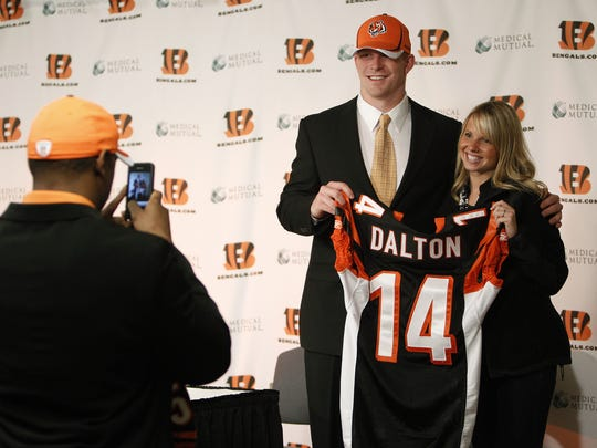 Andy Dalton is welcomed as the Bengals' second-round pick in 2012.