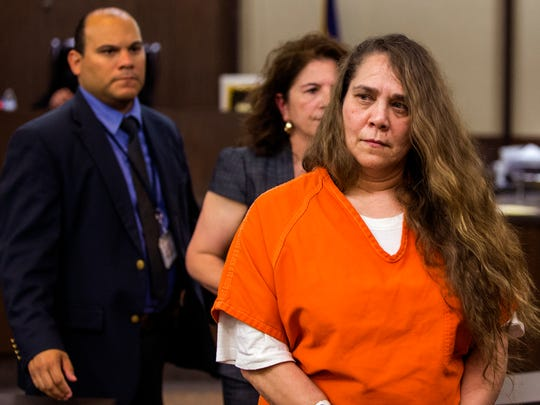 Rosalinda Musella, who has been charged with tampering with physical evidence in the killing of Breanna Wood, appeared in Judge Jack Pulcher's 105th District Court to request a bond reduction on Monday, April 30, 2018. Musella is the mother of Joseph Tejeda, who is charged with capital murder in Wood's death.
