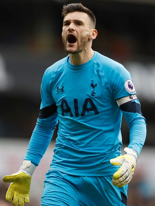 Tottenham Hotspur's goalkeeper Hugo Lloris shouts at supporters during the English Premier League soccer match between Tottenham Hotspur and Southampton at White Hart Lane stadium in London, Sunday, March 19, 2017.(AP Photo/Frank Augstein)