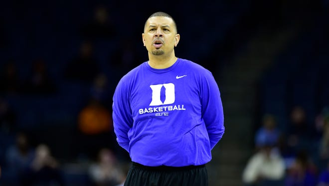 Duke Blue Devils associate head coach Jeff Capel during practice before the second round of the 2015 NCAA Tournament at Time Warner Cable Arena.