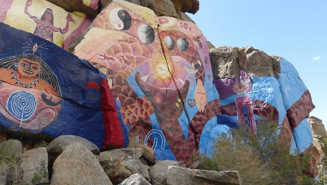 The Roy Purcell murals in Chloride spread across 2,000 square-feet of cliff faces and boulders.