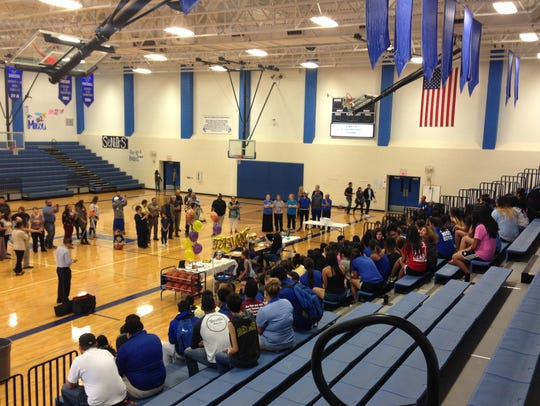 About 200 people gathered to witness Lake View's Bri-Anna