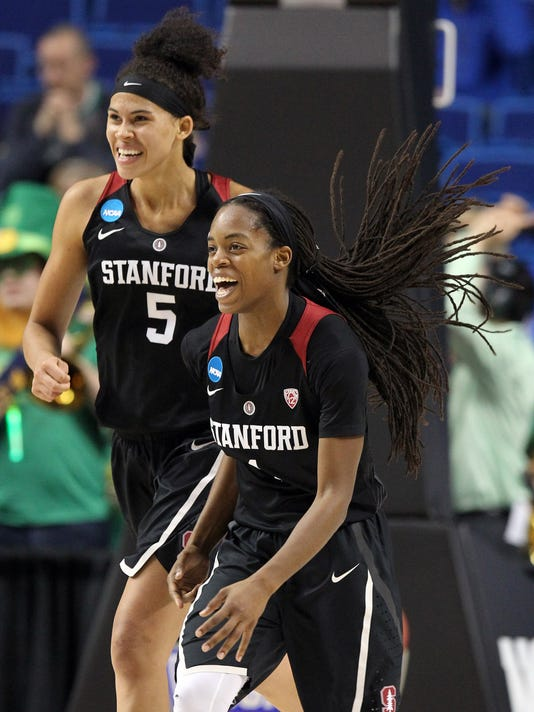 Stanford's Lili Thompson, right, and Kaylee Johnson celebrate after a regional semifinal against Notre Dame in the NCAA women's college basketball tournament in Lexington, Ky., Friday, March 25, 2016. Stanford won 90-84. (AP Photo/James Crisp)