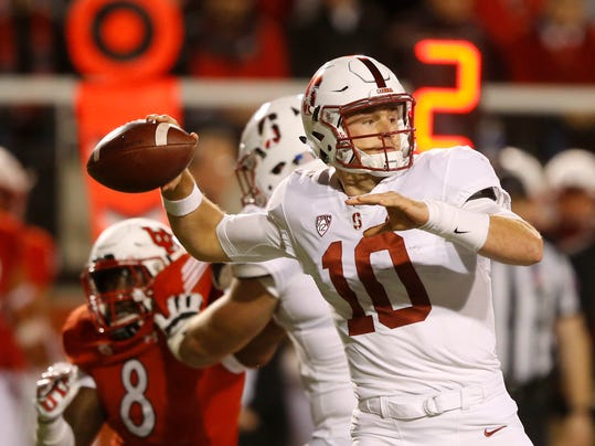 Stanford quarterback Keller Chryst (10) passes the ball against Utah in the first half during an NCAA college football game Saturday, Oct. 7, 2017, in Salt Lake City. (AP Photo/Rick Bowmer)