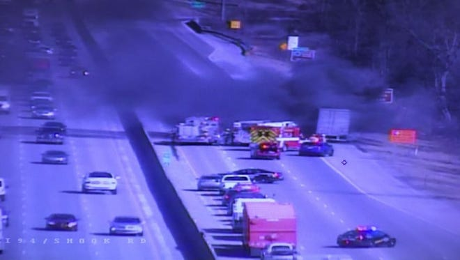 Officials said eastbound I-94 at Harper in Clinton Township has been closed due to a vehicle fire.