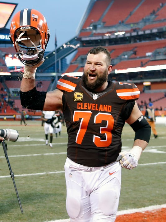 FILE - In this Dec. 24, 2016, file photo, Cleveland Browns tackle Joe Thomas (73) celebrates after a 20-17 victory over the San Diego Chargers in an NFL football game,  in Cleveland. Browns star left tackle Joe Thomas has retired after 11 seasons in the NFL, ending a career in which he exemplified durability, dependability and dominance. A 10-time Pro Bowler, Thomas announced his decision Wednesday, March 14, 2018,  after spending several months contemplating whether to come back following a season-ending injury. (AP Photo/Ron Schwane, File)