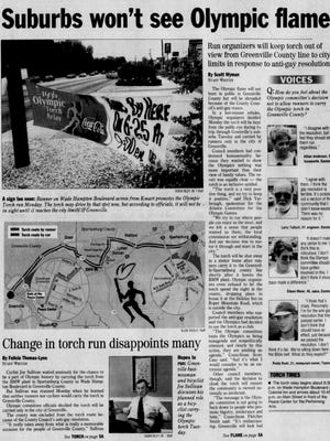 The front page of The Greenville News on June 25, 1996.