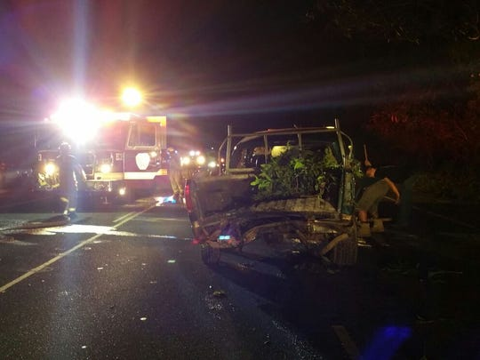 A two-vehicle crash sent three people to the hospital on Dec. 13, according to Guam Fire Department.