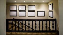 Picture frames that once displayed photographs of President