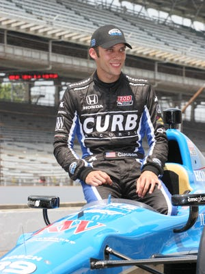 Bryan Clauson posing for photos after making the field for the Indy 500, May 20, 2012,  at the Indianapolis Motor Speedway.