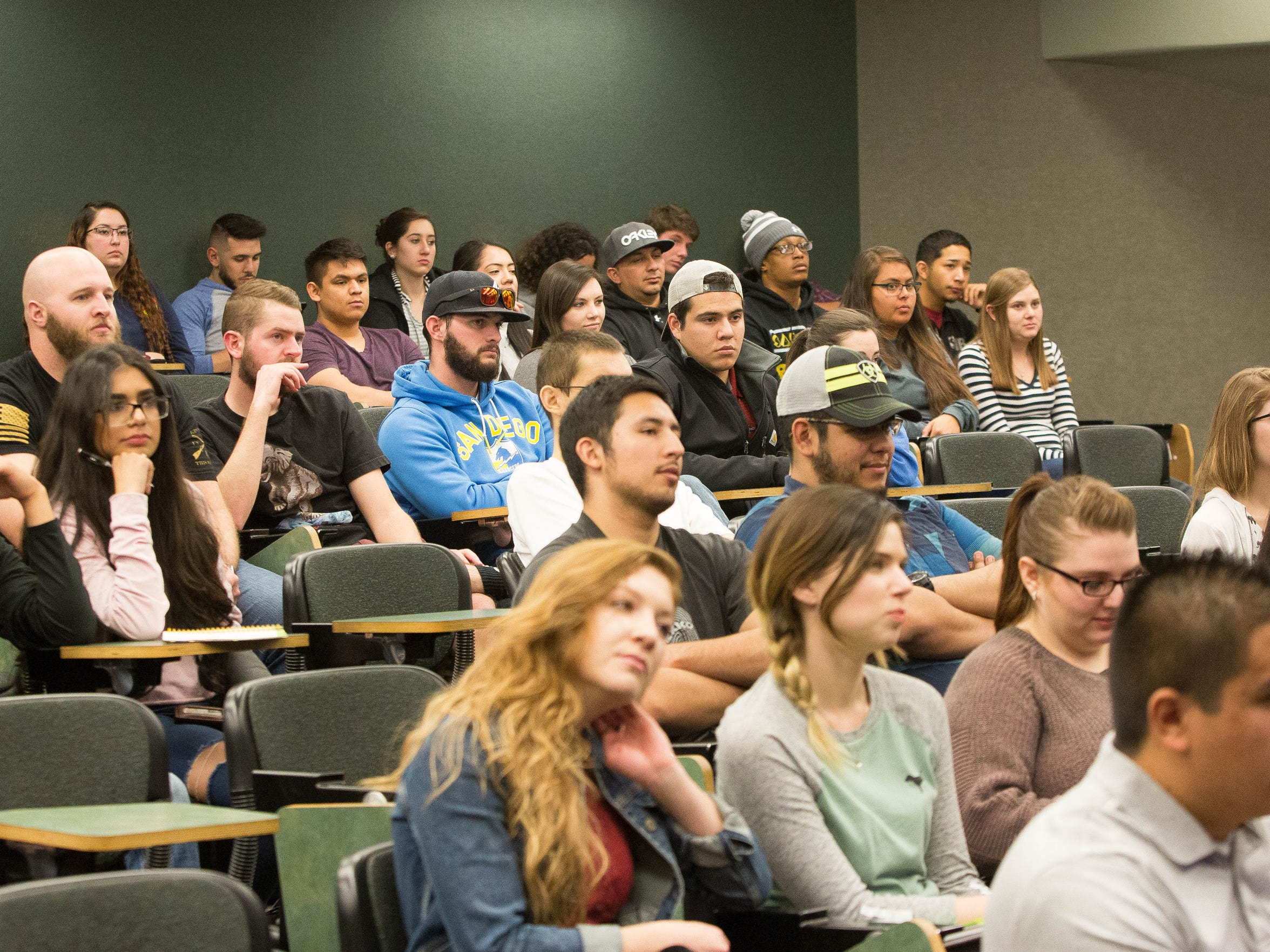 NMSU students and faculty attend a forum on gun control, Thursday, March 1, 2018.