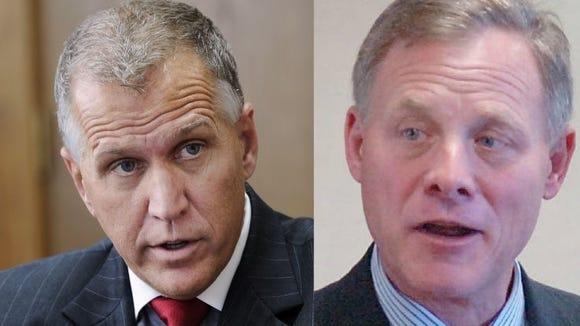 Sen. Thom Tillis, left, and Sen. Richard Burr, right.