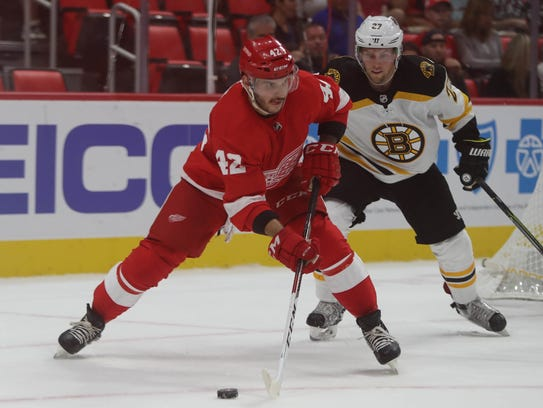 Detroit Red Wings' Martin Frk moves the puck against
