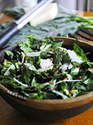 Summer salads have everything going for them. They are fresh, packed with flavor and have contrasting textures, including Kale Salad. (Gretchen McKay/Pittsburgh Post-Gazette/TNS)
