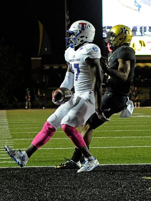 Tennessee State wide receiver Patrick Smith (17) scores on Saturday, Oct. 22, 2016, in Nashville, Tenn.