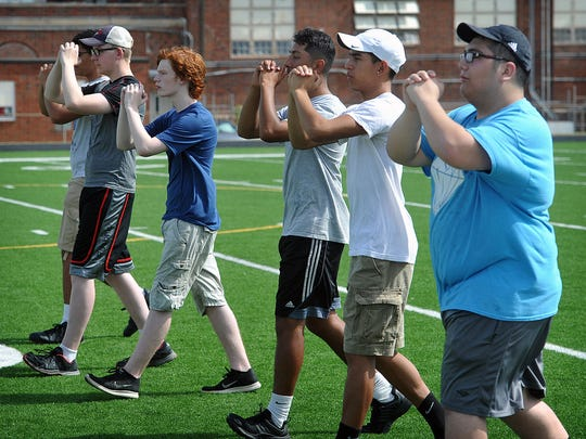 Wichita Falls High School kicked off the first day of band camp Thursday morning with band members learning how to march before actually using their instruments.