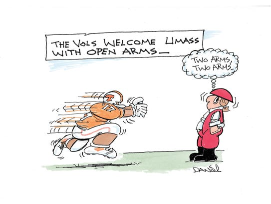 Charlie Daniel Voltoon for the Tennessee-UMass game.