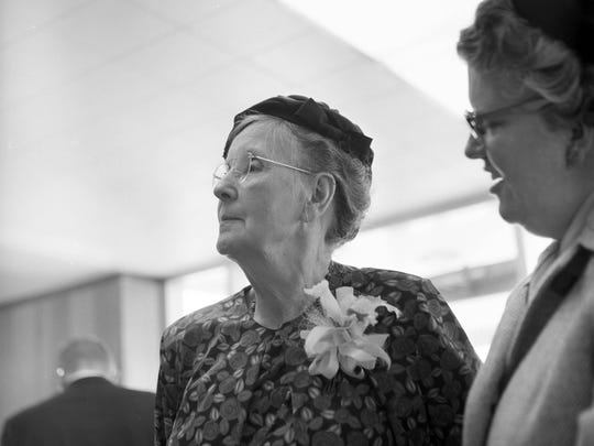 Amelia T. Wood at the dedication of the health center named in her honor at Ball State University in 1964.