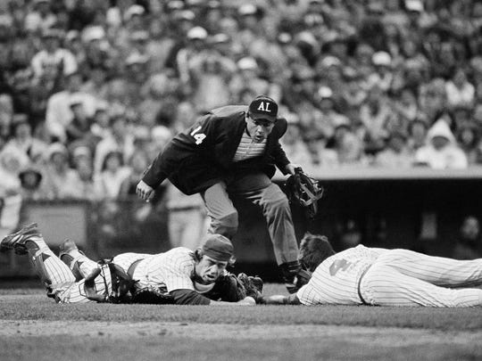 Umpire Steve Palermo during the 1982 American League playoffs between Milwaukee and California.
