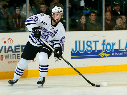 St. Cloud State recruit Jake Wahlin is an alternate captain for the Tri-City Storm in the United States Hockey League. Wahlin, a 19-year-old forward, has 16 goals, 30 assists, 34 penalty minutes and is a plus-5 in 57 games this season.