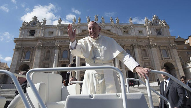 Pope Francis arrives to lead the weekly general audience in Saint Peter's Square, Vatican City on Feb. 24, 2016.