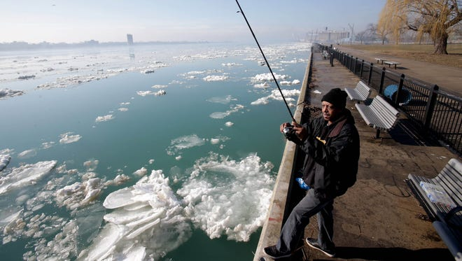 Ronnie Gotcher, 59 of Detroit has been fishing for year on the Detroit River. He came to Riverside Park in Detroit on Tuesday, March 21, 2017 hoping to catch Walleye but they weren't biting this morning.