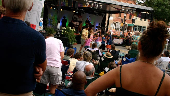 The crowd enjoys the performance during JazzFest 2017 in Old Town.