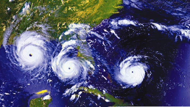 An image of three views of Hurricane Andrew on Aug. 23-25, 1992 as the hurricane moves west on its track over South Florida before making landfall in a sparsely populated coastal area of Louisiana on Aug. 26, 1992.