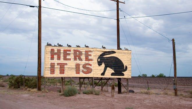 Here it is! Jackrabbit Trading Post billboard on Route 66 in Joseph City, Arizona.