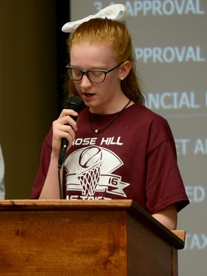Rose Hill Middle School student Camden Robertson speaks during public comments about middle school sports during the Jackson-Madison County School Board meeting Monday.