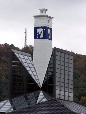 Corning Inc.'s Little Joe Tower stands behind the company headquarters in Corning.