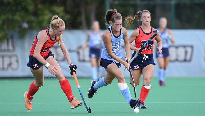 University of North Carolina forward Lauren Moyer leads the Tar Heels with eight goals.