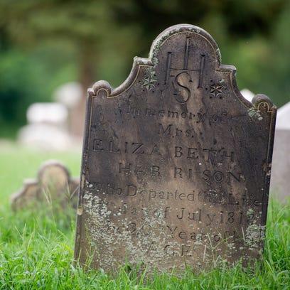 The headstone of Elizabeth Harrison at Oak Hill Cemetery,