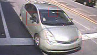 "TPD officials say surveillance photos show the 2006-2009 model Toyota Prius seen leaving the scene, painted ""Silver Pine Mica,"" was missing a tow-bolt cover on its front bumper and had a mismatching black passenger-side mirror."