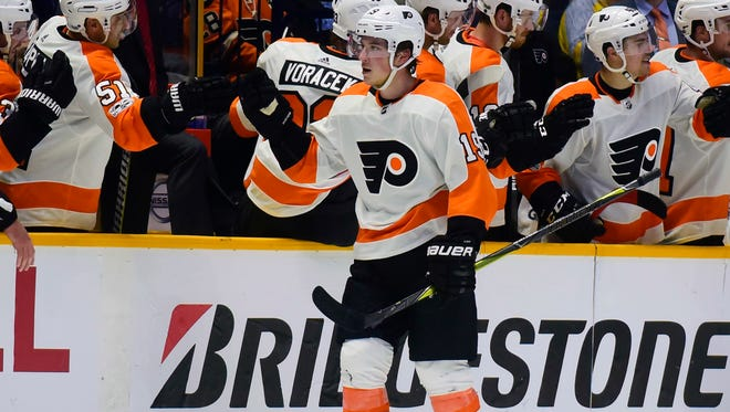 Nolan Patrick returned to the Flyers' lineup Thursday after missing nine games with a concussion.