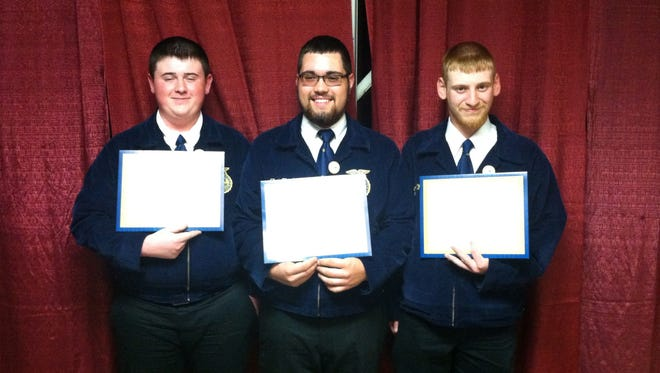 Three members of the Clyde FFA chapter were awarded the State FFA degree.  The State Degree is the highest award that a member can earn at the state level.  To earn the degree, members must be active in state and national activities, complete a variety of community service activities and meet financial requirements as part of their Supervised Agricultural Experience.  This year, Clyde FFA members Dakota Kastor, Zach Frankart and Austin Walters earned their state degree.