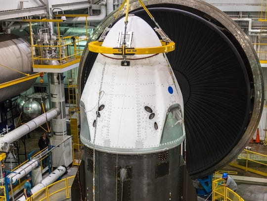 SpaceX's Crew Dragon spacecraft undergoing thermal