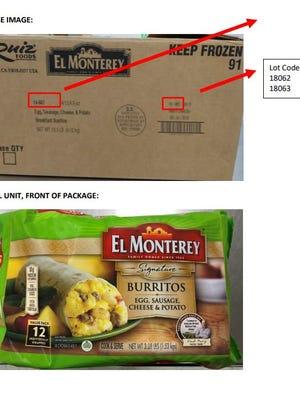 Illustration of Ruiz Food's frozen breakfast burritos being recalled.