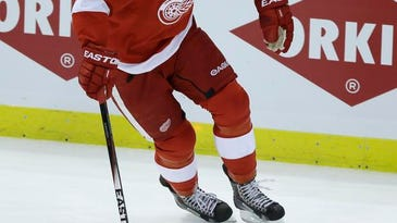 Detroit left wing Johan Franzen controls the puck during the second period of Thursday night's Game 4.