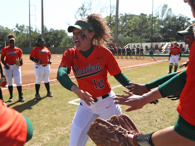 FAMU's Taylor Rosier high-fives her teammates before
