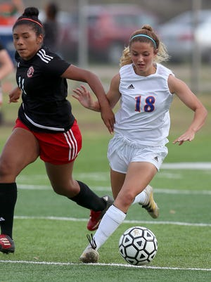 Addison Bonaventure (right) and the San Angelo Central girls will open the 2018 soccer playoffs against South Grand Prairie at 2 p.m. Thursday in Copperas Cove.