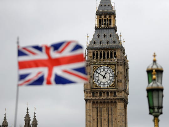 The British flag waves in front of Parliament's Big