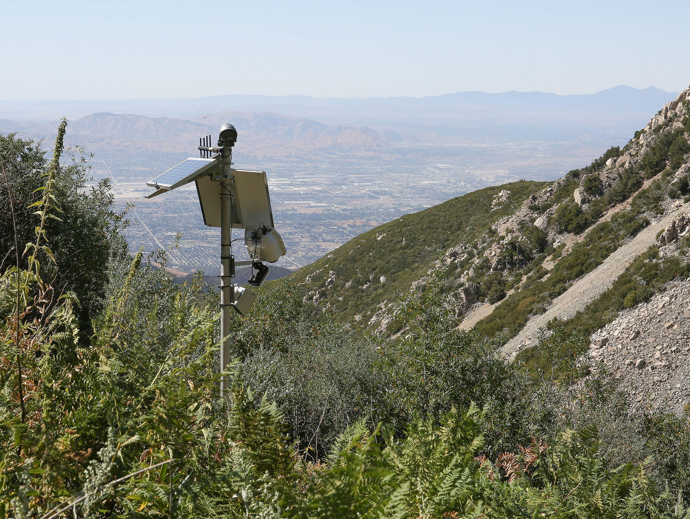 A pole mounted with a camera and other instruments