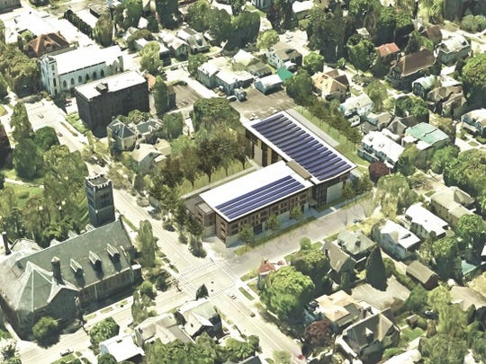 A top-down view of the proposed Travis Hyde Old Library development.