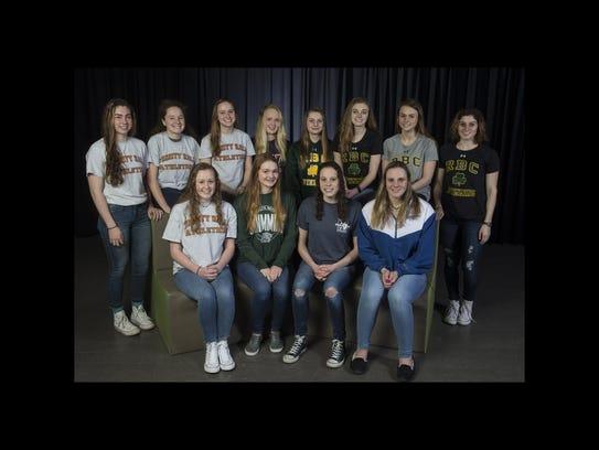 2018 All-Shore Girls Swim team. Front row: Maddie Condon