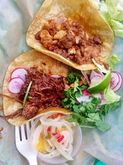 """Basic"" street-style tacos: Beef Barbacoa and Pork"