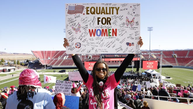 """Carrie McMurray from Las Vegas joins the rally at the Women's March: """"Power to the Polls"""" event on Jan. 21, 2018, at Sam Boyd Stadium in Las Vegas, Nevada."""