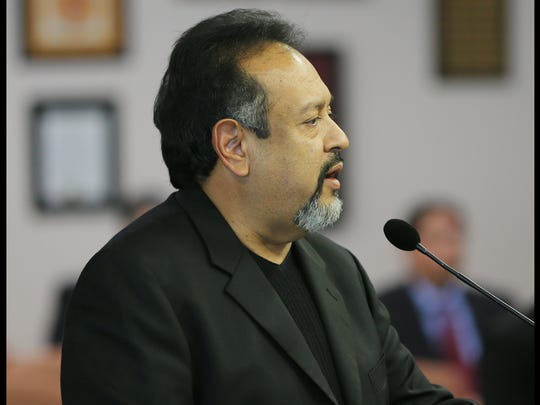 Gilbert Guillen spoke against the future Downtown arena Tuesday.