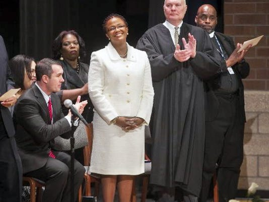 "York Mayor Kim Bracey, shown here at her 2014 inauguration, says the city has already followed some fiscal recommendations made several years ago to help it solve its financial problems, and that the city is ""running out of tools."" One possibility could be for the city to enter Act 47, a state program to help distressed cities, but Bracey says that it's not a cure-all."
