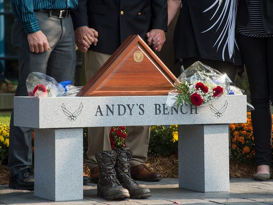 A memorial bench in honor of Maj. Andy Becker is now